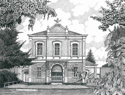 Concertzaal Oosterbeek, tekening: Dick Caderius van Veen