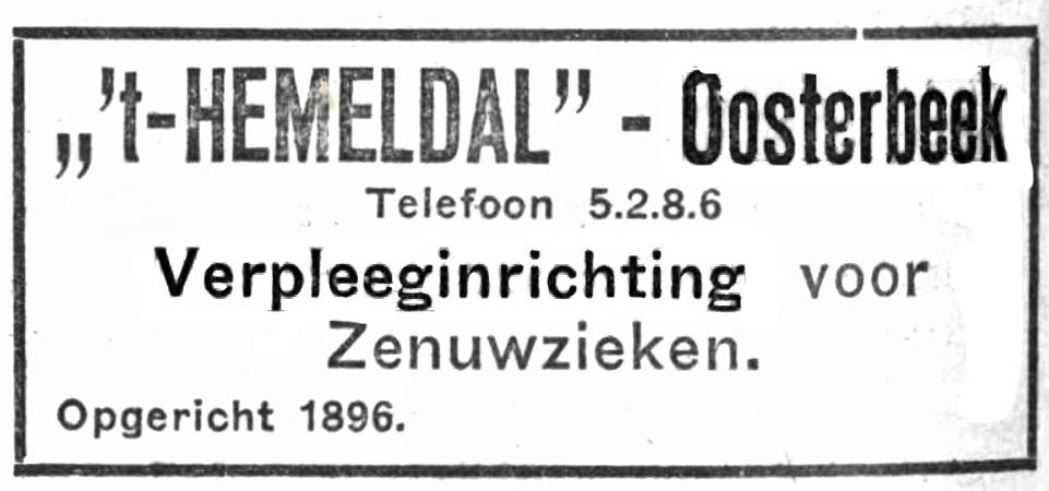 Hemeldal voor Zenuwzieken sinds 1896