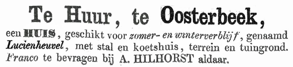Lucienheuvel Oosterbeek te huur 1864