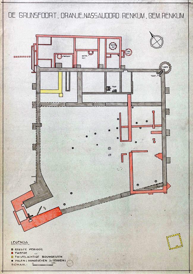 kaart van Grunsfoort bron Gelders Archief