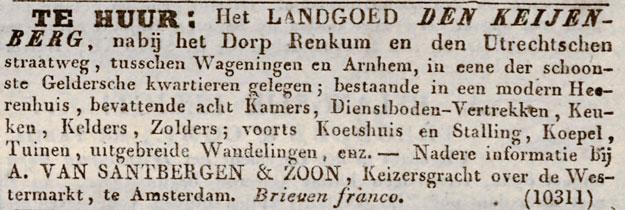 advertentie Keijenberg 1842